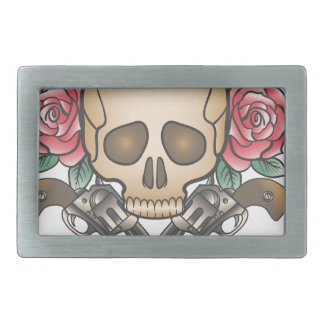 skull with vintage guns and flowers belt buckles