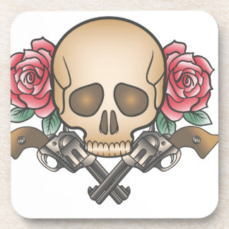 skull with vintage guns and flowers coaster