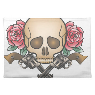 skull with vintage guns and flowers placemat