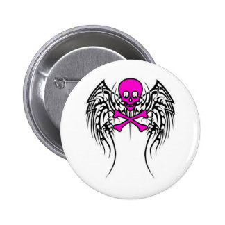 Skull with Wings 6 Cm Round Badge