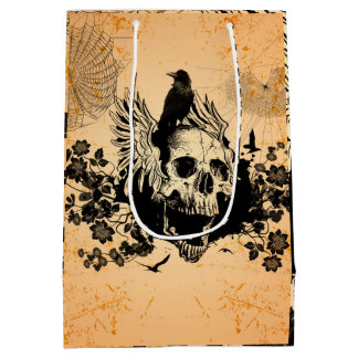 Skull with wings and crow with flowers medium gift bag
