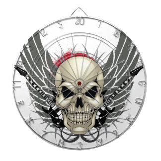 Skull with Wings and Guitars Dart Board