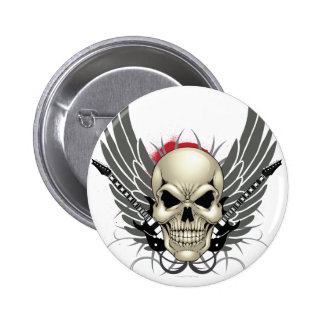 Skull with Wings and Guitars Pinback Button