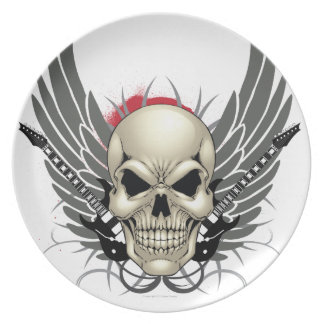 Skull with Wings and Guitars Plates