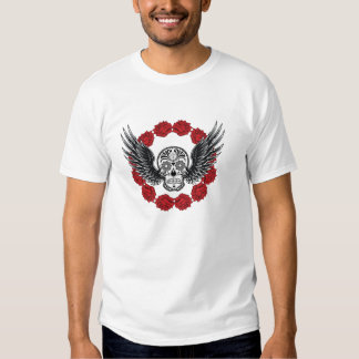 Skull with wings and roses t-shirt