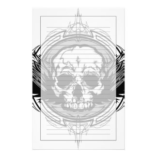 Skull With Wings And Tribal Outline Ornate Customised Stationery