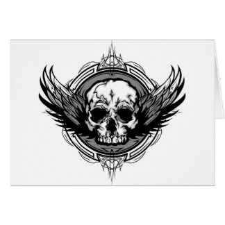 Skull With Wings And Tribal Outline Ornate Greeting Card