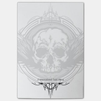 Skull With Wings And Tribal Outline Ornate Post-it® Notes