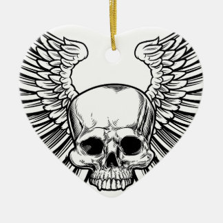 Skull with Wings Ceramic Heart Decoration