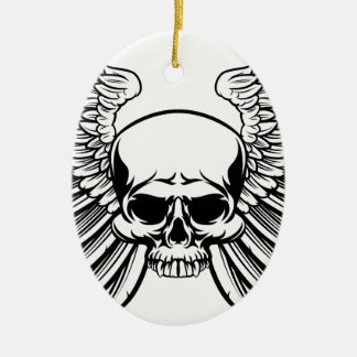 Skull with Wings Ceramic Oval Decoration