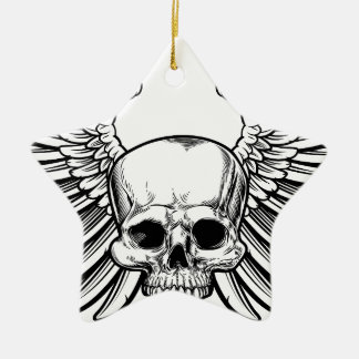 Skull with Wings Ceramic Star Decoration