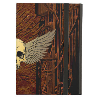 Skull with wings on dark background iPad air case