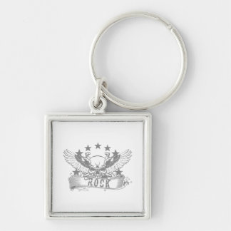 Skull With Wings Rock Banner Key Chain