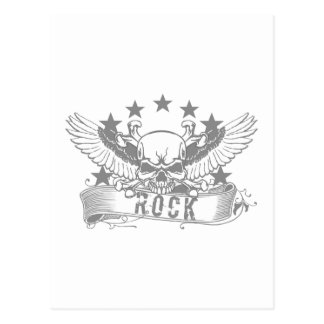 Skull With Wings Rock Banner Postcard
