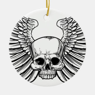 Skull with Wings Round Ceramic Decoration