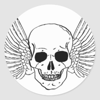 Skull with Wings Round Sticker