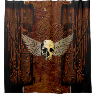 Skull with wings shower curtain
