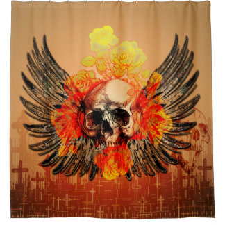 Skull with wonderful roses and wings shower curtain
