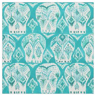 SKULLAGOG Aqua Boho Chic Ikat Skull Pattern Fabric