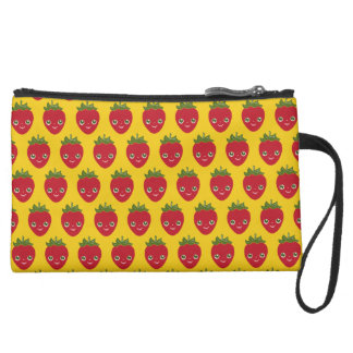Skullberry, Sweet Strawberry That Has Gone Rogue Suede Wristlet