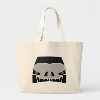 Skulled car design large tote bag