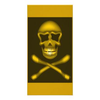 skullNcrossbones_Vector PIRATE SKULL CROSSBONES Personalised Photo Card