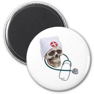 SkullNurse082309 6 Cm Round Magnet