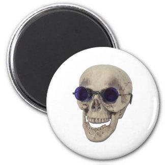 SkullPurpleGlasses121611 6 Cm Round Magnet