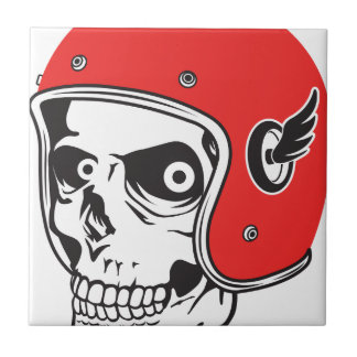 ☞ Skullracer motorcycle helmet Ceramic Tile