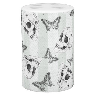 Skulls and butterflies bath accessory sets