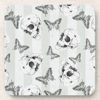 Skulls and butterflies drink coasters