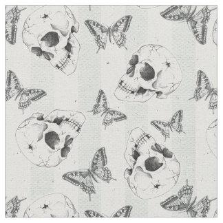 Skulls and butterflies fabric