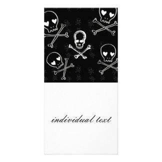 skulls and crossbones black custom photo card