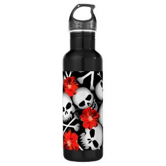 Skulls and flowers 710 ml water bottle