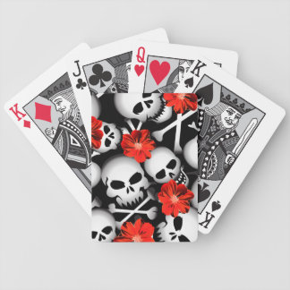 Skulls and flowers bicycle playing cards