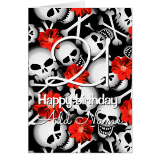 Skulls and flowers card