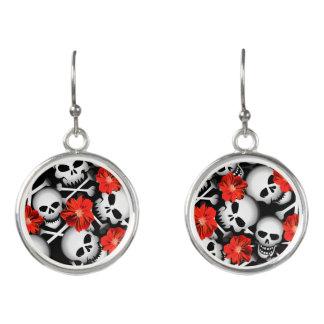 Skulls and flowers earrings