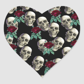 Skulls and Flowers Heart Sticker