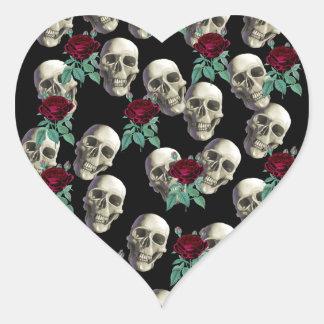 Skulls and Flowers Heart Sticker