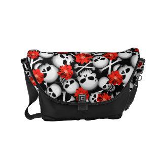 Skulls and flowers messenger bags