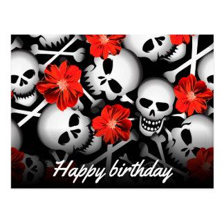 Skulls and flowers postcard