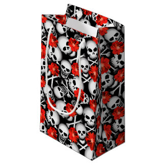 Skulls and flowers small gift bag