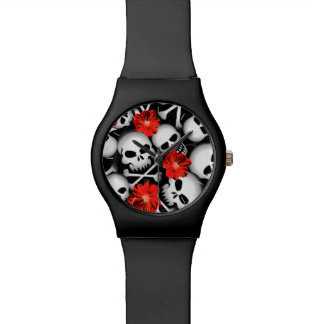 Skulls and flowers watch