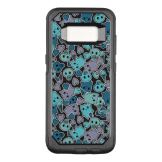 Skulls, and hearts on black background 2 OtterBox commuter samsung galaxy s8 case