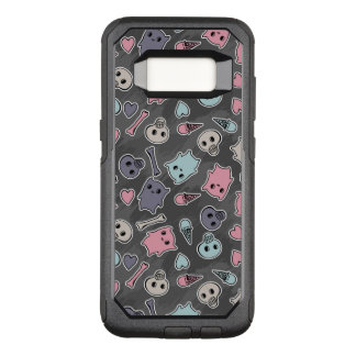 Skulls, and hearts on black background OtterBox commuter samsung galaxy s8 case