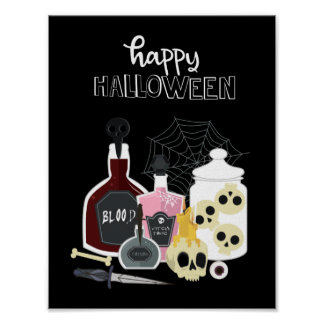 Skulls and Potions Illustrations Happy Halloween Poster