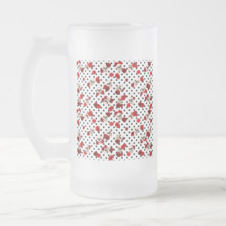 Skulls and roses frosted glass beer mug