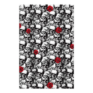Skulls and roses pattern personalised stationery