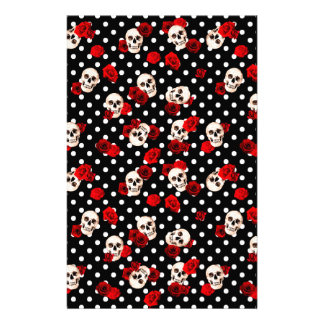 Skulls and roses stationery