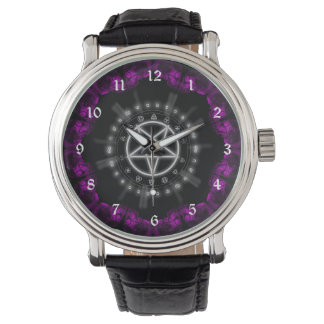Skulls and Runes Pentagram Goth Art Watch